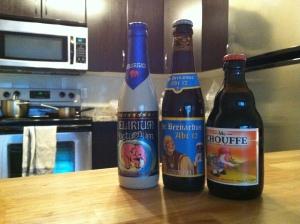 Belgian beers: Delirium, Abt 12, and Mc Chouffe